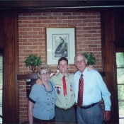 Nick with his grandparents when he became an Eagle Scout.