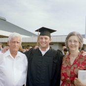Nick and his grandparents at his graduation from Mercer University in 2005.