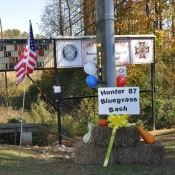 The sign and decorations at the entrance of the VFW.