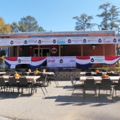 Sponsor banners and outdoor seating
